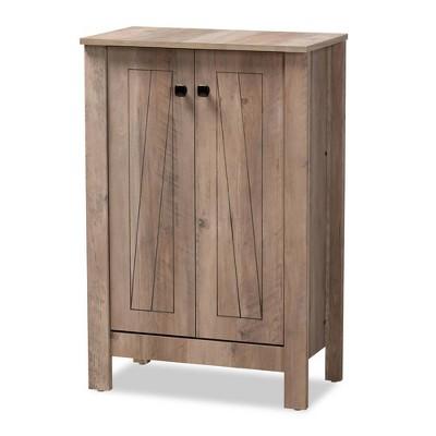Derek Wood 2 Door Shoe Cabinet-Oak - Baxton Studio