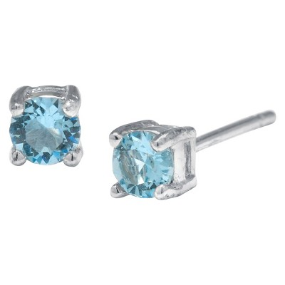 Silver Plated Brass Light Aqua Stud Earrings with Crystals from Swarovski (4mm)