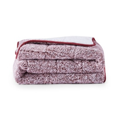 Back Printed Teddy Sherpa Reversible to Sherpa Weighted Throws Red - Dreamothis