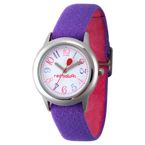 Girls' Red Balloon Stainless Steel Watch - Purple - image 1 of 2