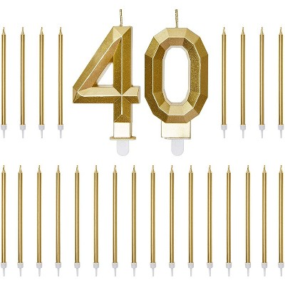 Blue Panda Gold Foil Numbers 40 Cake Topper & 24-Pack Thin Birthday Candles, 40th Birthday Party Decorations