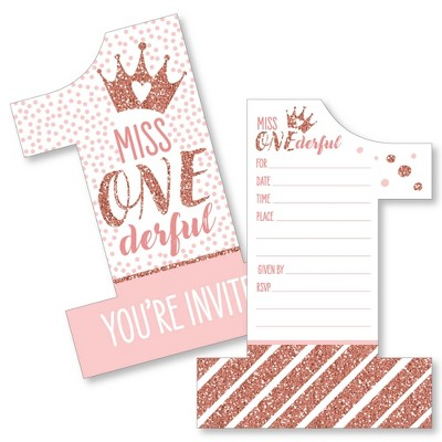 Big Dot of Happiness 1st Birthday Little Miss Onederful - Shaped Fill-In Invites - First Birthday Party Invitation Cards with Envelopes - Set of 12