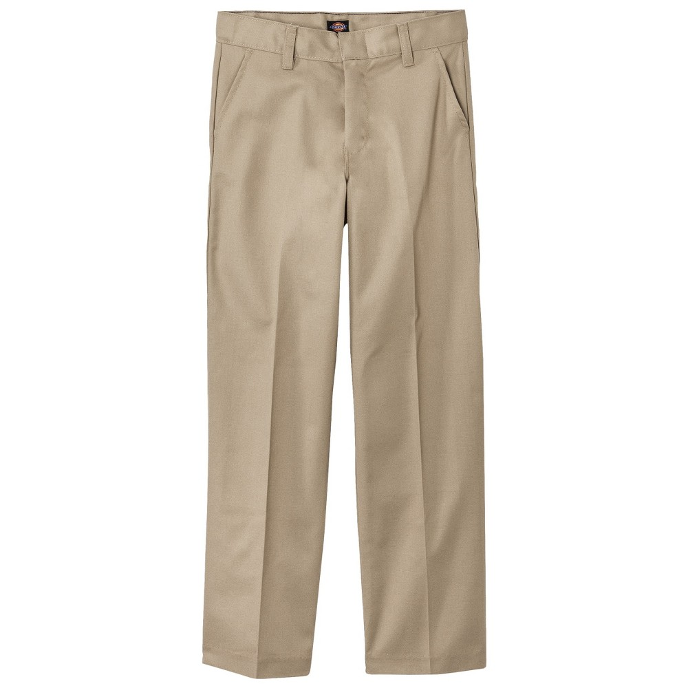Dickies Boys' Classic Fit Flat Front Uniform Chino Pants - Khaki (Green) 10