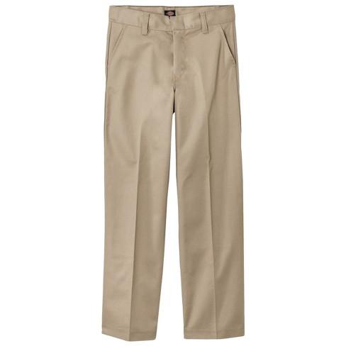 4ace65d7c018fb Dickies Boys' Classic Fit Flat Front Uniform Chino Pants - Khaki 6 ...