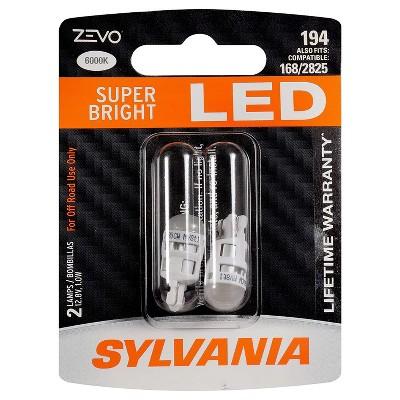 Sylvania Zevo 194 White T10 W5W Socket LED Super Bright Interior Exterior Vehicle Car Lighting Applications Light Bulb Set (2 Pack)