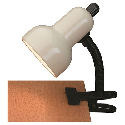 Clip-On 1 Light Desk Lamp with Ivory Shade - Lite Source