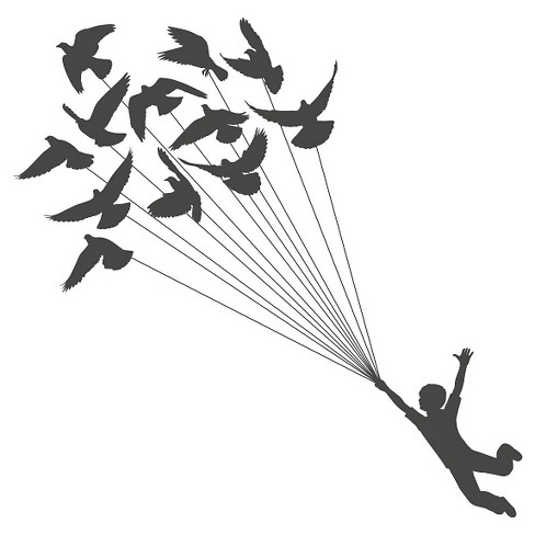 Like a Bird Wall Decal - Black - image 1 of 2