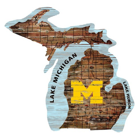 """NCAA Michigan Wolverines 12"""" State Map Wood Sign - image 1 of 1"""