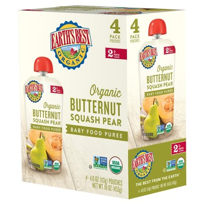 Earth's Best Organic 4pk Butternut Squash Pear Baby Food Pouch - 16oz