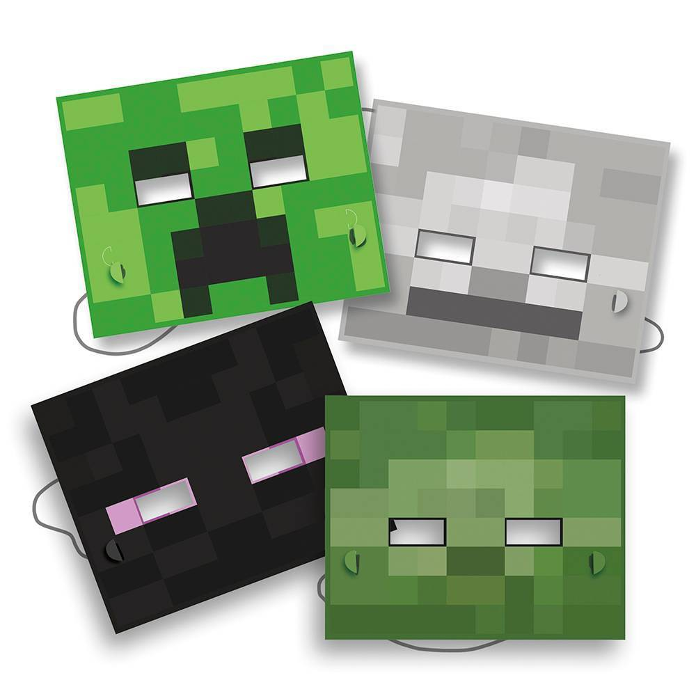 Image of 8ct Minecraft Masks, wearable party accessories