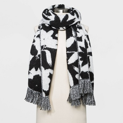 Women's Floral Blanket Scarf - A New Day™ Black / White