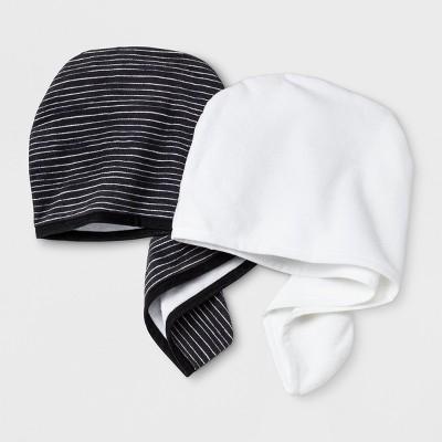 2Pk Printed Solid Hair Towels Black - Room Essentials™