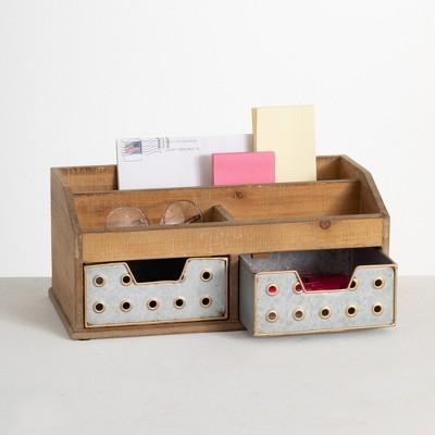 """Sullivans Desk Caddy Storage Organizer With Drawers 6.25""""H Silver"""