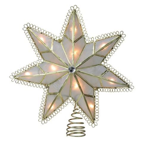 "Kurt S. Adler 9.25"" Lighted Capiz Gold Loop Christmas Tree Topper - Clear Lights - image 1 of 1"
