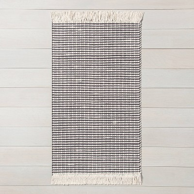 2' x 3' Texture Stripe Area Rug Railroad Gray / Sour Cream - Hearth & Hand™ with Magnolia