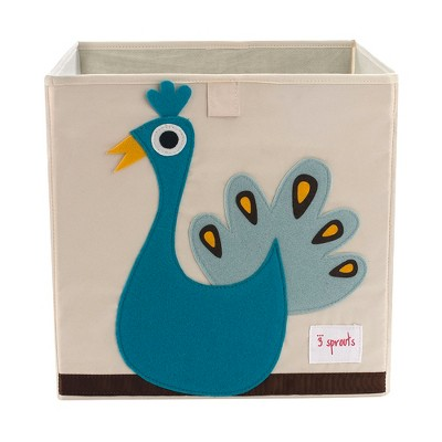 3 Sprouts Large 13 Inch Square Children's Foldable Fabric Storage Cube Organizer Box Soft Toy Bin, Blue Peacock