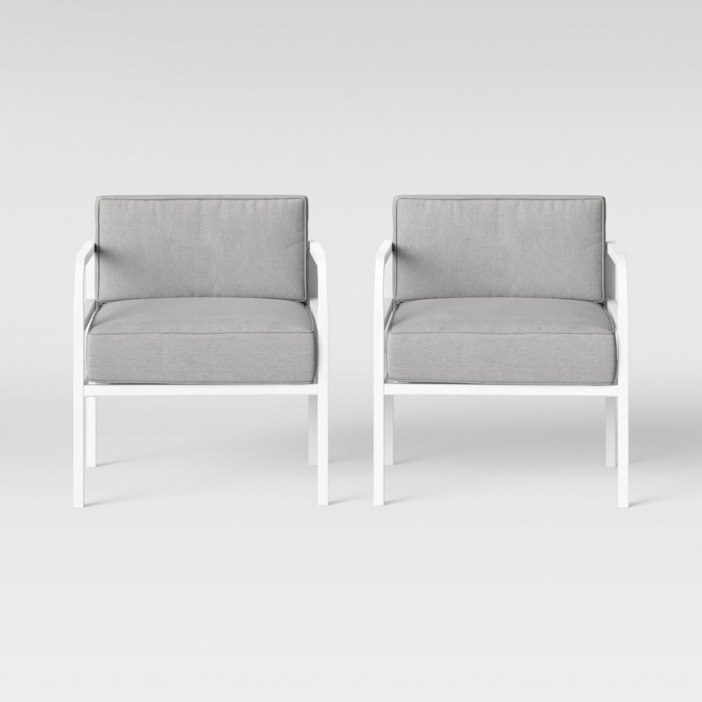 Beacon Hill 2pk Patio Club Chair Gray/White - Project 62