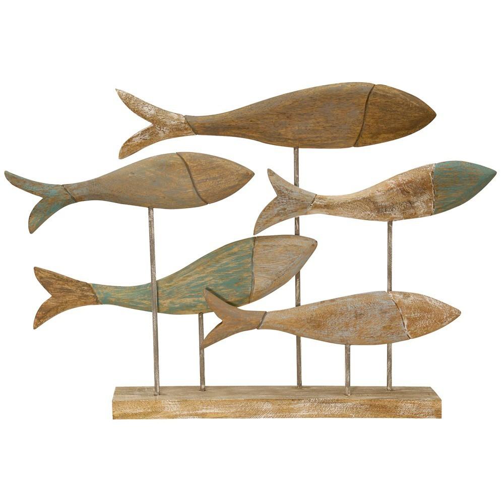 29.5 School of Fish Marine Wood Decorative Wall Art Wood - StyleCraft