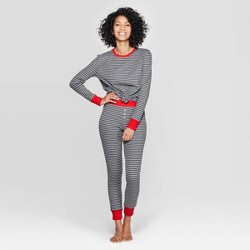 Women's Striped Thermal Sleep Pajama Set - Stars Above™ Heather Gray