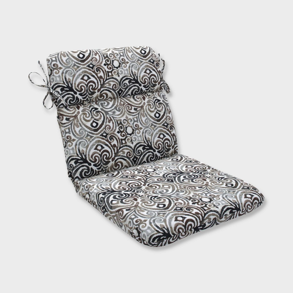 Corrinthian Driftwood Rounded Corners Outdoor Chair Cushion Black - Pillow Perfect