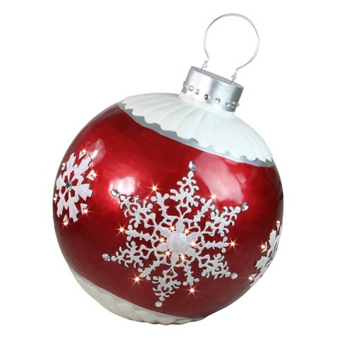 Northlight 26 5 Led Lighted Red Ball Christmas Ornament With Snowflake Outdoor Decoration Target