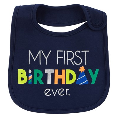 Baby Boys' My First Birthday Bib - Just One You® made by carter's Blue OSZ