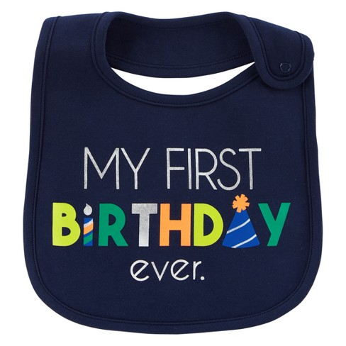 Baby Boys My First Birthday Bib