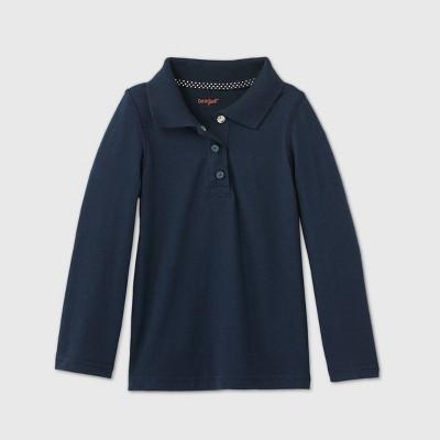 Toddler Girls' Adaptive Long Sleeve Polo Shirt - Cat & Jack™ Navy