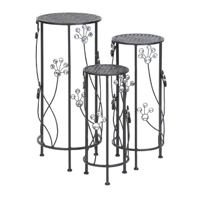 Set of 3 Iron Plant Stands with Floral Bead Details - Olivia & May