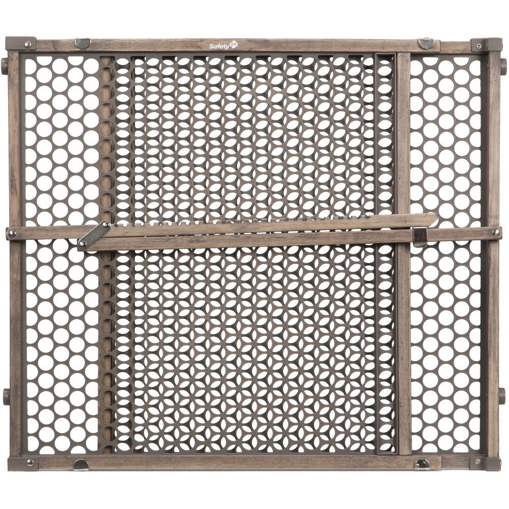 Image of Safety 1st Vintage Grey Wood Doorway Security Gate - Gray