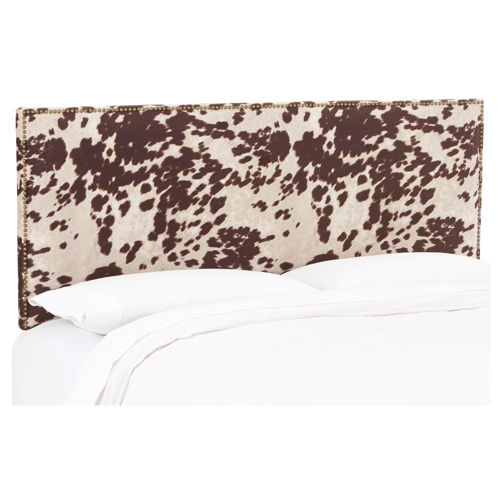 California King Arcadia Nailbutton Patterned Headboard Udder Madness Milk - Skyline Furniture
