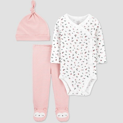Baby Girls' 3pc Floral Side Snap Top and Bottom Set - Just One You® made by carter's Pink Newborn