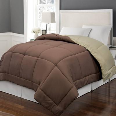 Full/Queen Reversible Microfiber Down Alternative Comforter Brown/Khaki - Blue Ridge Home Fashions
