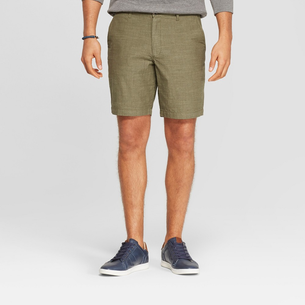 Men's 9 Slim Fit Chino Shorts - Goodfellow & Co Late Night Green 40