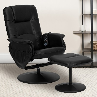 Emma and Oliver Adjustable Massage Recliner/Ottoman - Deep Side Pockets in Black LeatherSoft