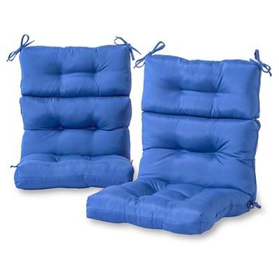 Set of 2 Solid Outdoor High Back Chair Cushions - Kensington Garden
