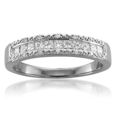 Pompeii3 1/2ct Princess Cut Diamond Wedding Ring 14K White Gold