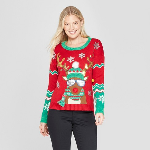 Womens Reindeer Christmas Ugly Sweater 33 Degrees Red Target