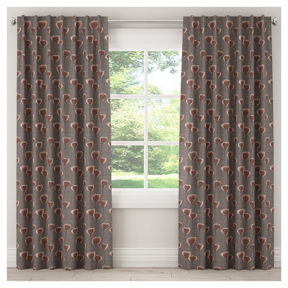 Unlined Poppy Floral Curtain Panel Taupe Brown (50