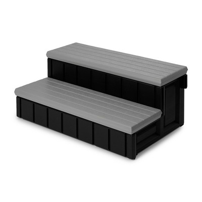Confer Leisure Accents 36 Inch Deluxe Patio Long Hot Tub Spa Step, Gray/Black