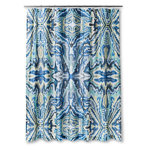 Fleck Shapes Burst Shower Curtain Blue/Yellow - AiR® - image 1 of 1