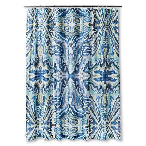 Fleck Shapes Burst Shower Curtain Blueyellow Air Target