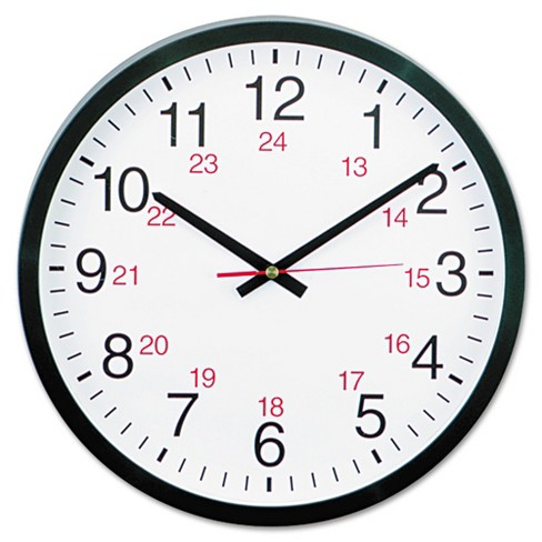 """Universal 24-Hour Round Wall Clock, 12 5/8"""", Black - image 1 of 2"""
