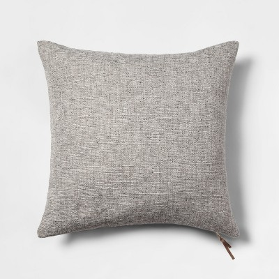 Woven With Exposed Zipper Square Throw Pillow Gray - Project 62™