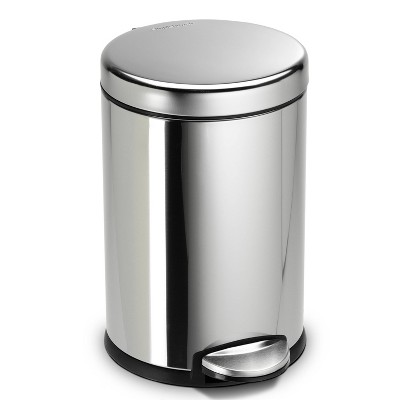 simplehuman 4.5L Round Step Trash Can Silver