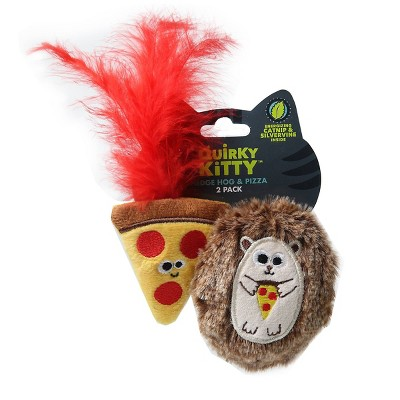 Quirky Kitty Pizza Hedge Hog Cat Toy - Brown - 2pk