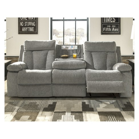 Mitchiner Reclining Sofa With Drop Down Table Light Gray Signature Design By Ashley Target