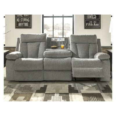 Bon Mitchiner Reclining Sofa With Drop Down Table Light Gray   Signature Design  By Ashley