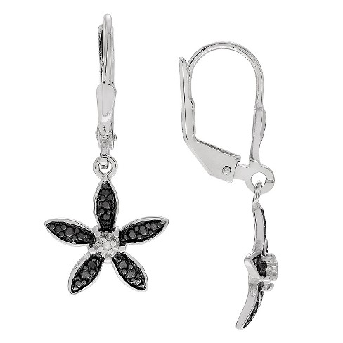 1/10 CT. T.W. Round-cut Diamond Pave Set Flower Dangle Earrings in Sterling Silver (JK-I2) - Black - image 1 of 2