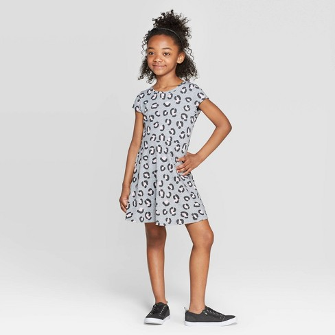 Girls' Animal Print Knit Dress - Cat & Jack™ Heather Gray - image 1 of 3